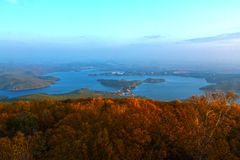 秋天在镜泊湖 图库摄影