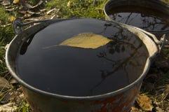 秋天在水的下落的叶子在桶 库存图片