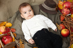 秋天在黄色秋天叶子、苹果、南瓜和装饰的小男孩谎言在纺织品 免版税库存图片