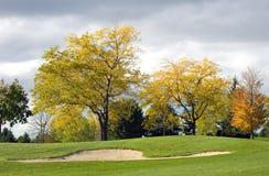 秋天地堡高尔夫球 库存照片