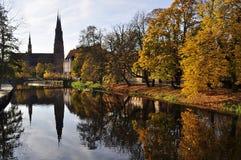 秋天场面瑞典乌普萨拉 免版税库存照片