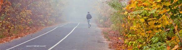 秋天城市公园,跑步和自行车道路 免版税库存图片
