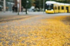 秋天城市场面被弄脏的背景 被弄脏的街道、电车和黄色叶子在柏林 库存图片