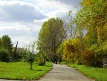 秋天天在城市公园 免版税库存图片