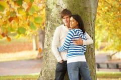 秋天夫妇停放浪漫少年结构树 免版税库存照片