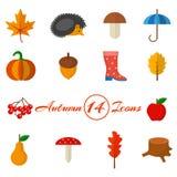 秋天套在一个平的样式的14个象 库存图片