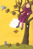 秋天女孩坐的结构树 库存照片