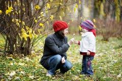 秋天女孩她的母亲小孩年轻人 库存照片