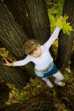 秋天女孩少许公园 免版税图库摄影
