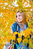 秋天妇女纵向有黄色叶子的 库存照片