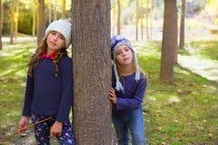 秋天姐妹使用在森林树干的孩子女孩室外 库存照片