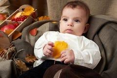 秋天季节、儿童男孩谎言在黄色秋天叶子,苹果、南瓜和装饰在纺织品 免版税库存图片