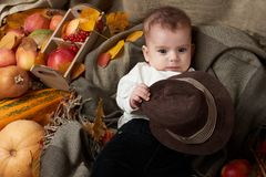 秋天季节、儿童男孩谎言在黄色秋天叶子,苹果、南瓜和装饰在纺织品 免版税图库摄影