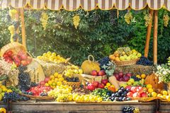 秋天季节农业市场公平的显示 生动的水果和蔬菜在木老推车秋天装饰的-图象 库存图片