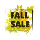 秋天季节性销售横幅设计 秋天叶子 也corel凹道例证向量 免版税图库摄影