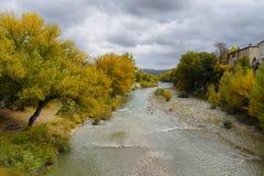 秋天季节的Drome河,法国 免版税库存照片
