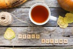 秋天完全失败位置,顶视图 秋天叶子,杯子茶 与题字你好秋天的南瓜在土气木 库存图片