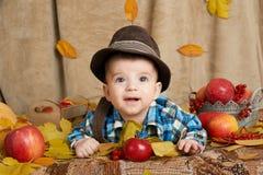 秋天小孩在黄色秋天叶子、苹果、南瓜和装饰的男孩谎言在纺织品 免版税库存图片