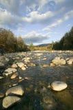 秋天小河在克劳福德山谷新罕布什尔,新英格兰白色山的国家公园  库存照片