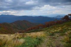 秋天山风景在日本 免版税库存照片