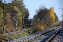 秋天工业风景 后退入在绿色和黄色秋天树中的距离的铁路 图库摄影