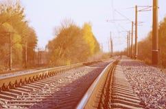 秋天工业风景 后退入在绿色和黄色秋天树中的距离的铁路 免版税库存图片