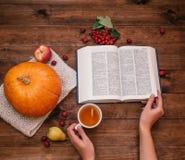 秋天工作场所顶视图、南瓜、苹果和书在女孩的手木桌面看法在桌上,南瓜、苹果和a 图库摄影