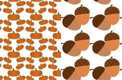 秋天平的无缝的样式:南瓜样式背景和橡子样式 库存例证
