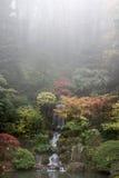 秋天庭院日本人瀑布 库存图片