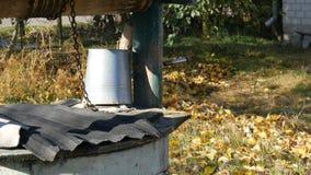 秋天庭院有下落的叶子的和很好有一个被倒置的折叠的桶的 影视素材