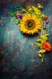 秋天开花束用在黑暗的葡萄酒背景,顶视图的向日葵 免版税库存图片
