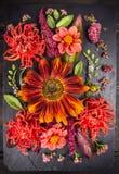 秋天开花构成用向日葵、大丽花和草本在黑暗的桌上 免版税图库摄影