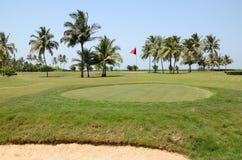 秋天彩色场标志高尔夫球沙子结构树 免版税库存图片