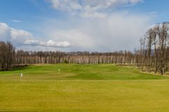 秋天彩色场标志高尔夫球沙子结构树 免版税图库摄影