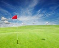 秋天彩色场标志高尔夫球沙子结构树 免版税库存照片