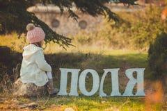 秋天愉快的小女孩获得使用与下落的金黄叶子的乐趣 库存照片