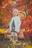 秋天愉快的小女孩获得使用与下落的金黄叶子的乐趣 免版税图库摄影
