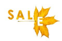 秋天折扣 从楔子叶子雕刻的信件 免版税图库摄影