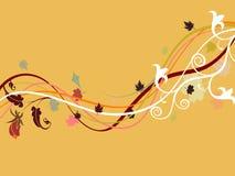 秋天抽象花卉音乐通知设计 免版税库存照片