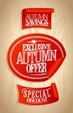 秋天提议被设置的销售贴纸 免版税库存照片