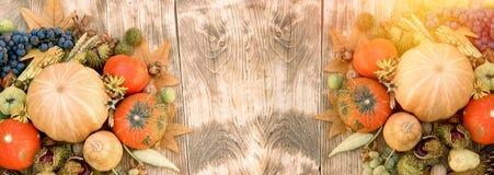 秋天收获、季节性水果和蔬菜在土气木桌上 免版税图库摄影