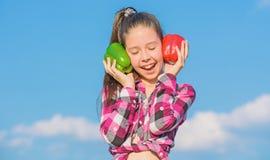 秋天收获本地出产的菜 选择哪些 供选择的决定概念 孩子女孩举行红色和青椒天空 库存图片