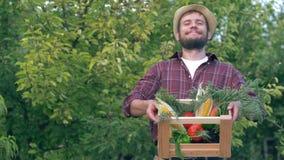 秋天收获,草帽的愉快的农夫在有新鲜蔬菜的手木箱举行在庭院 股票录像
