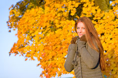 秋天方式头发公园红色日落妇女 库存图片