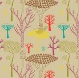 秋天无缝森林的模式 图库摄影