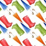 秋天无缝的例证 胶靴,伞 竹例证日本式水彩 免版税库存照片
