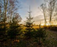 秋天日落在捷克乡下 免版税图库摄影