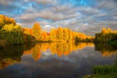 秋天日落在池塘的公园 免版税库存照片