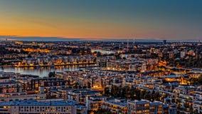秋天日落,斯德哥尔摩 库存照片