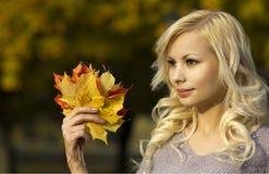 秋天时尚女孩。有黄色槭树的白肤金发的美丽的少妇在手中离开。外面。 库存图片